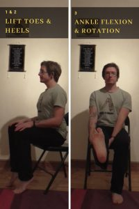 Chair yoga guide Foot postures