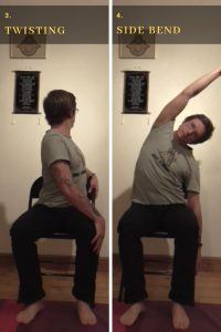 Spinal twist and bend for chair yoga routine
