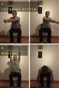 two dynamic chair yoga movements