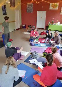 Giving a class in teacher training